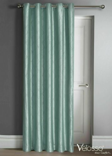 "Embossed Wave Thermal Light Reducing Ring Top Eyelet One Door Curtain Panel, 46"" X 84"" Duck Egg"